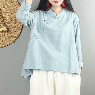 中国风禅意盘扣旗袍棉麻上衣女秋装宽松长袖衬衫中式复古文艺茶服
