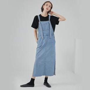范洛FANOSTUDIOS 2019夏季純棉水洗藍色復古打結中長款牛仔背帶裙