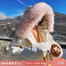 女装冬装2017新款潮宽松大毛领中长款收腰工装chic棉服女冬季外套