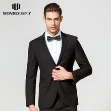 忘不了男装修身西服套装男士黑色时尚两粒扣西装商务正装