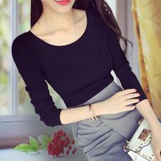 秋装黑色长袖T恤女士修身外穿打底衫2017新款潮韩版百搭秋冬上衣