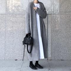 慵懒风毛衣外套女韩版2018冬季新款韩版宽松过膝中长款针织开衫潮