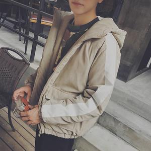 日系冬装新款复古撞色连帽棉衣男士韩版加厚棉服外套宽松保暖棉袄男式棉衣
