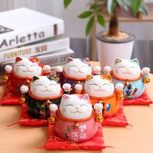 招财猫摆件 迷你小号可爱创意陶瓷存钱罐办公桌家居饰品摆件礼物