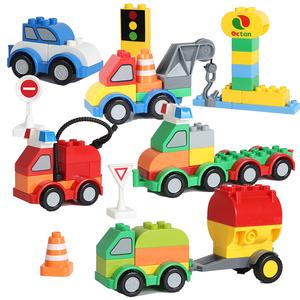 兼容乐高大玩具spanclass=h>颗粒/span>拼装小汽车玩具警车3-6周岁50天金毛玩什么积木图片