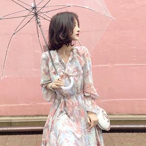大喜自制2018春季新款复古修身显瘦印花连衣裙女百搭花色连衣裙子连衣裙