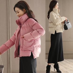 女士丝绒小棉袄韩版小棉服女短款2018新款宽松时尚羽绒棉小款棉衣