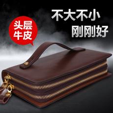 男士手包男真皮软皮商务手拿包头层牛皮夹包双拉链大容量手抓包潮