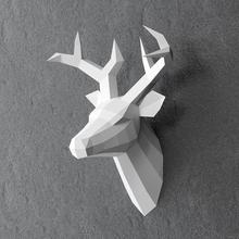 手工DIY纸艺小鹿壁挂鹿头雕塑家居装 60厘米高 饰客厅宿舍办公