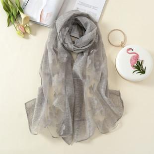 新款韩版镂空时尚保暖披肩秋冬季多功能长款百搭装饰围巾两用丝巾