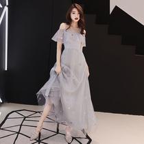 伴娘服短款 晚礼服女2018新款 宴会高贵优雅名媛气质显瘦连衣裙长款