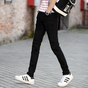 冬季加绒男装牛仔裤青少年黑色男士修身小脚长裤学生弹力韩版男裤