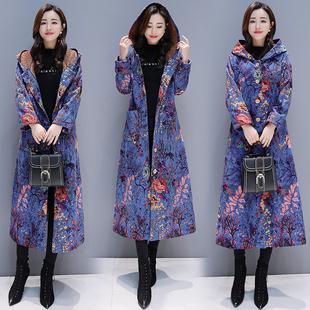 冬季民族风印花棉麻棉服棉袄女加绒加厚棉衣收身显瘦气质长款外套