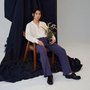 原创设计师日式复古修身喇叭裤 紫罗兰显瘦长裤蓝色阔腿裤