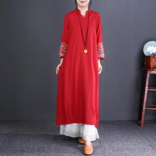 自然小铺 民族风刺绣长袖棉麻连衣裙宽松中长款2019春季大码女装