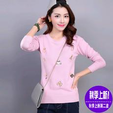 纤纤美衣 2016新款韩版女装短款绣花长袖针织衫时尚百搭圆领毛衣