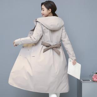 反季清仓秋冬双面穿羽绒服女中长款轻薄修身显瘦过膝连帽风衣外套