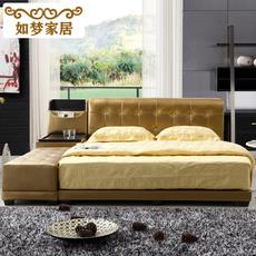 如梦家居皮床榻榻米真皮床1.8米1.5米现代时尚双人床婚储物床