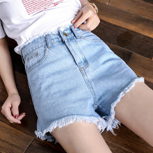 Jeans Shorts Female Summer 2019 New Korean Version Loose Students wear wide-legged hot pants with high waist and thin waist