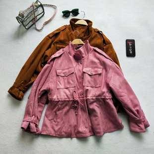 2018秋冬新款韩版中长款chic外套夹棉学生风衣矮个子娇小女装BE22