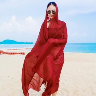 纯色超大棉麻围巾防晒披肩沙滩巾民族风度假旅行围巾沙漠海边