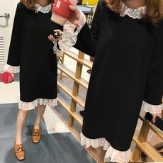 大码女装胖mm最爱秋冬装连衣裙子胖妹妹蕾丝打底裙冬季200斤上衣