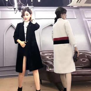 欧洲站2016冬装新款加厚茧型外套女韩版修身中长款羊剪绒呢子大衣