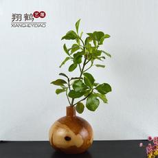 家居花瓶摆件翔鹤插花特色欧式器现代复古艺新款实木雕质简约客厅