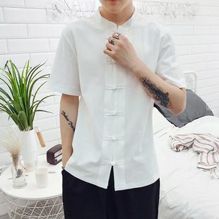 夏季棉麻衬衫短袖中式盘扣唐装青年修身透气亚麻茶服唐衣民族服装