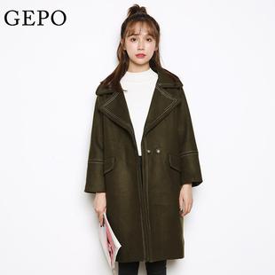 歌珀秋冬新款韩版毛呢外套中长款加厚宽松显瘦茧型呢子大衣女装