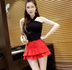 春夏新款女装半身裙裤修身包臂牛仔短裙性感迷你超短裙女黑色裤裙