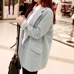 韩版毛呢外套女秋冬中长款显瘦茧型学生呢子大衣百搭宽松小西装潮