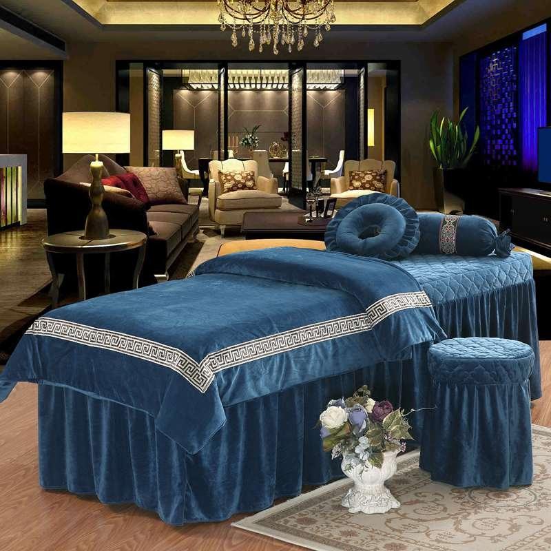 加厚保暖水晶绒美容床罩四件套美容院SPA洗头按摩床可定制LOGO美容床罩