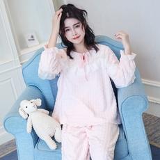法兰绒睡衣女秋冬季韩版清新公主花边学生长袖珊瑚绒家居服套装
