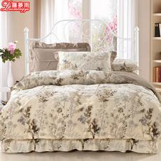 纯棉床裙四件套被套全棉加棉夹棉床罩床套加厚床单1.5米1.8米1.2