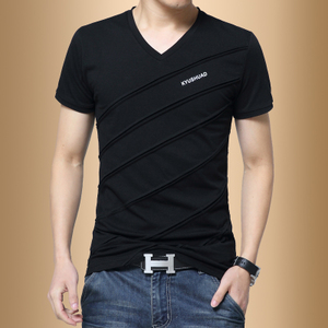 男士短袖T恤V领纯棉夏季韩版潮流男装半袖学生衣服修身体恤打底衫潮牌短袖