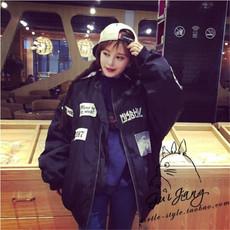 韩版原宿学院风大码 ulzzang贴布印花BF风秋装风衣外套女短外套