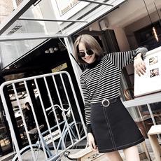 2017初秋新款女装韩版半高领毛衣套头早秋黑白条纹长袖打底针织衫