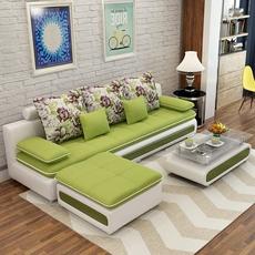 简约现代小户型布艺沙发家具转角可拆洗皮配布沙发客厅整装组合