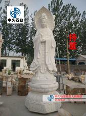 石雕三面观音佛大理石南海观世音菩萨雕塑大型汉白玉寺院佛像摆件