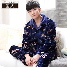 男士睡衣秋冬款珊瑚绒长袖春秋法兰绒冬季加绒韩版男装家居服套装
