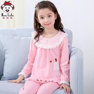 女童春秋季纯棉长袖儿童睡衣3小女孩5中大童7宝宝家居服套装9周岁