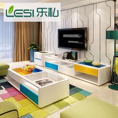 现代简约客厅彩色茶几桌电视柜储物烤漆钢化玻璃个性创意电视机柜