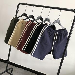 日系夏装男士纯色短裤水洗棉麻复古侧条拼接时尚抽绳休闲5分裤潮