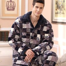 冬季加大加厚保暖男士睡衣法兰绒三层夹棉珊瑚绒睡衣男套装家居服