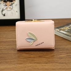 新款钱包女短款 韩版简约树叶搭扣三折女式学生小钱包零钱包钱夹