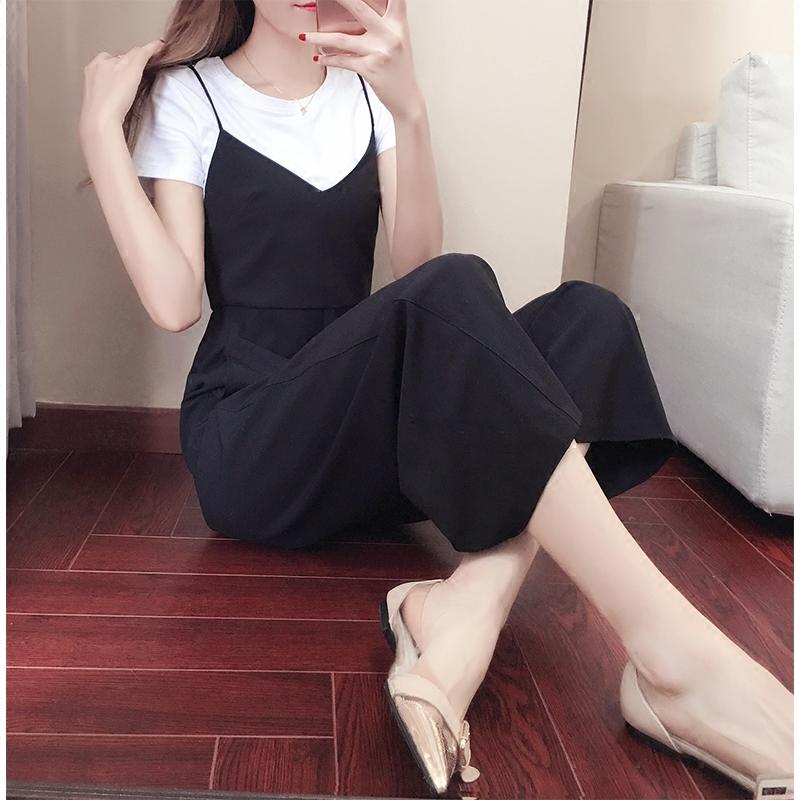 2017夏装新款女装潮韩版时尚气质吊带阔腿裤两件套夏季名媛套装女