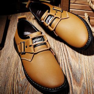 乔奈男鞋冬季潮鞋2016新款真皮韩版男士商务休闲皮鞋青年系带鞋子
