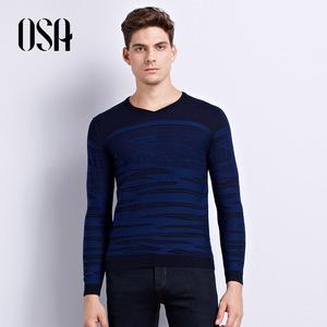 OSA欧莎男装2017秋冬新款撞色羊毛衫舒适保暖套头针织衫男C14007