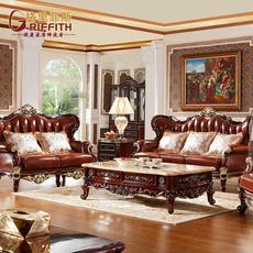 格里菲斯 欧式高档家具头层真皮沙发美式奢华客厅实木别墅沙发G33